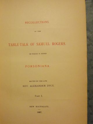 RECOLLECTIONS TABLE-TALK SAMUEL ROGERS WITH PORSONIANA: THREE VOLUMES