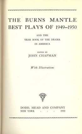 THE BURNS MANTLE BEST PLAYS OF 1949-1950. John CHAPMAN.