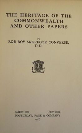 THE HERITAGE OF THE COMMONWEALTH AND OTHER PAPERS. Rob Roy McGregor CONVERSE