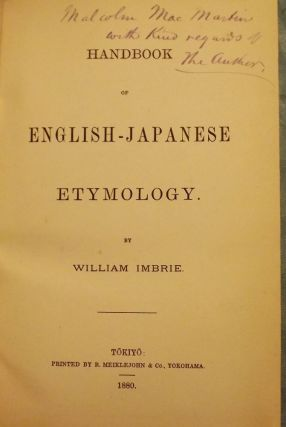 HANDBOOK OF ENGLISH-JAPANESE ETYMOLOGY. William IMBRIE