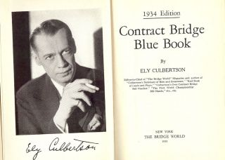 CONTRACT BRIDGE BLUE BOOK: 1934 EDITION. Ely CULBERTSON