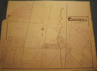 BERGEN COUNTY: CRESSKILL 1876 MAP. C. C. PEASE