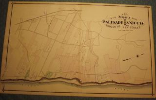 BERGEN COUNTY: PALISADES, PALISADES LAND COMPANY, HILLSDALE 1876 MAP. C. C. PEASE