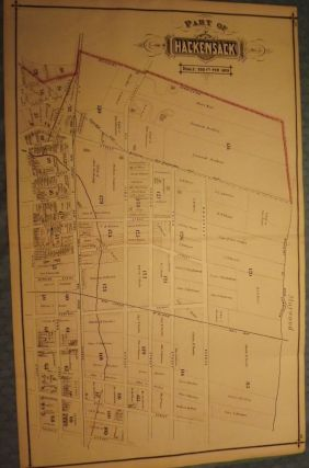 BERGEN COUNTY: HACKENSACK 1876 MAP. C. C. PEASE