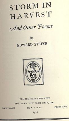 STORM IN HARVEST AND OTHER POEMS. Edward STEESE