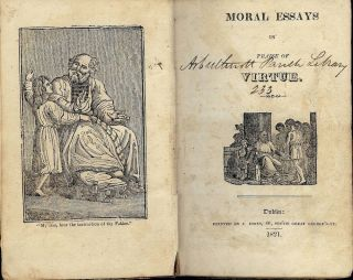MORAL ESSAYS IN PRAISE OF VIRTUE. J. JONES