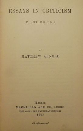 ESSAYS IN CRITICISM: SERIES ONE AND TWO- TWO VOLUMES. Matthew ARNOLD