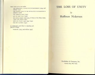 THE LOSS OF UNITY. Hoffman NICKERSON