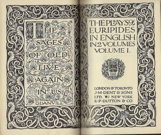 THE PLAYS OF EURIPIDES IN ENGLISH IN TWO VOLUMES: EVERYMAN'S LIBRARY #63. VOLUME ONE ONLY.