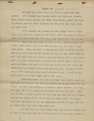 FANNIE LAY: A DOG'S REVERIE. ORIGINAL TYPED MANUSCRIPT. W. H. WESTON