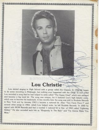SIGNED PHOTOGRAPH OF THE CLEFTONS AND LOU CHRISTIE
