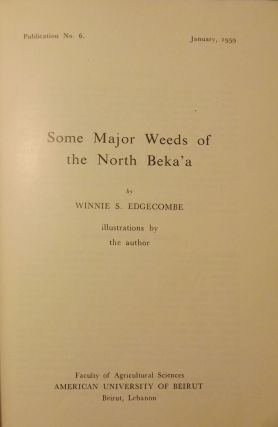 SOME MAJOR WEEDS OF THE NORTH BEKA'A