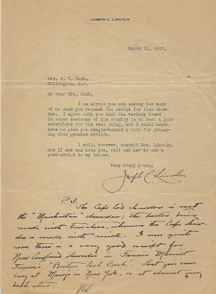 Typed Letter Signed With Personalized Notation. Joseph C. LINCOLN