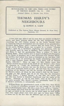 THOMAS HARDY'S NEIGHBOURS. Edwin A. LAST.
