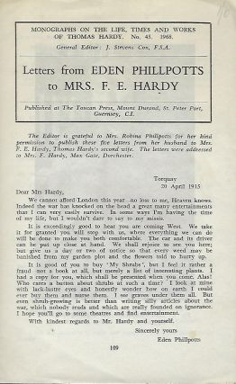 LETTERS FROM EDEN PHILLPOTTS TO MRS. F. E. HARDY. Eden PHILLPOTTS