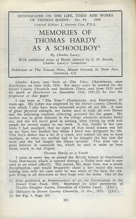 MEMORIES OF THOMAS HARDY AS A SCHOOLBOY. With additional notes of Hardy's interest by C. D....