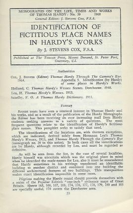 IDENTIFICATION OF FICTITIOUS PLACE NAMES IN HARDY'S WORKS. J. Stevens COX