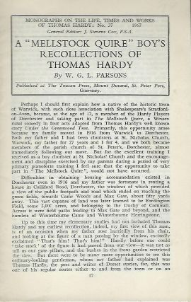 "A ""MELLSTOCK QUIRE"" BOY'S RECOLLECTIONS OF THOMAS HARDY. W. G. L. PARSONS"