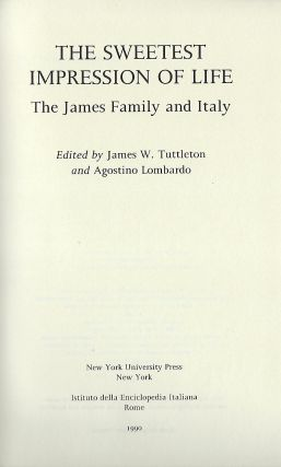 THE SWEETEST IMPRESSION OF LIFE: THE JAMES FAMILY AND ITALY