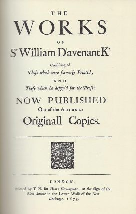 THE WORKS OF SIR WILLIAM DAVENANT. TWO VOLUMES. Sir William DAVENANT
