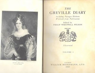THE GRENVILLE DIARY, INCLUDING PASSAGES HITHERTO WITHHELD FROM PUBLICATION. TWO VOLUMES. Philip...