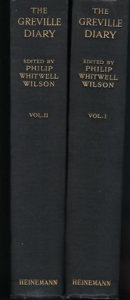THE GRENVILLE DIARY, INCLUDING PASSAGES HITHERTO WITHHELD FROM PUBLICATION. TWO VOLUMES.
