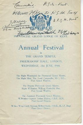 GRAND TEMPLE FREEMASONS HALL PROGRAM, LONDON, JUNE 21,1944. Lord CORNWALLIS, Wykeham Stanley