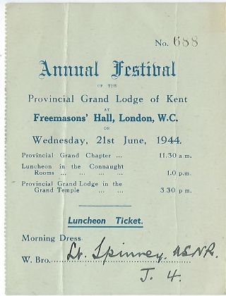 GRAND TEMPLE FREEMASONS HALL PROGRAM, LONDON, JUNE 21,1944