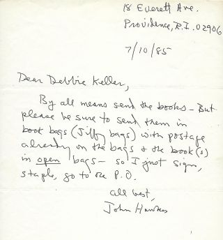 Autograph Letter Signed. John HAWKES