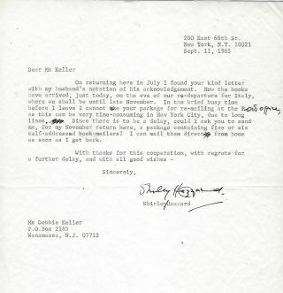 Typed Letter Signed. Sept. 11, 1985