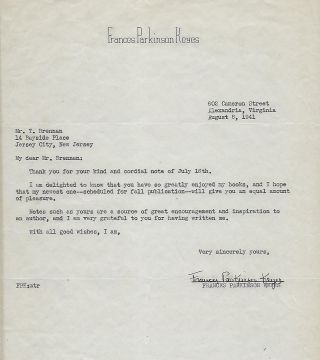 Typed Letter Signed. Frances Parkinson KEYES