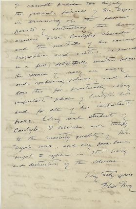 Autograph Letter Signed, about Thomas Carlyle: two pages.