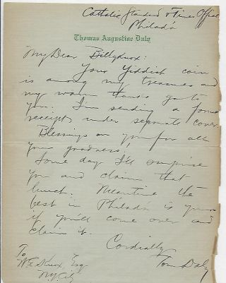 Autograph Letter Signed. Thomas Augustine DALY