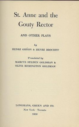 ST. ANNE AND THE GOUTY RECTOR AND OTHER PLAYS.
