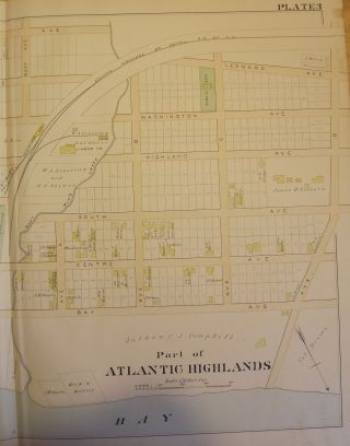 ATLANTIC HIGHLANDS NJ MAP. FROM WOLVERTON'S ATLAS OF MONMOUTH COUNTY.