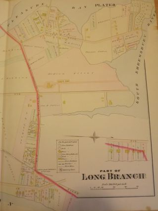 """PART OF LONG BRANCH NJ MAP. FROM WOLVERTON'S """"ATLAS OF MONMOUTH COUNTY,"""" 1889."""