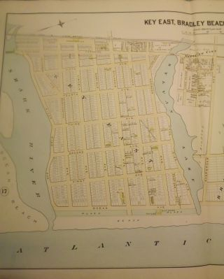"""KEY EAST (AVON), BRADLEY BEACH AND OCEAN PARK NJ MAP. FROM WOLVERTON'S """"ATLAS OF MONMOUTH COUNTY,"""" 1889."""