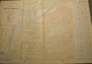 "OCEAN BEACH [BELMAR] NJ MAP. FROM WOLVERTON'S ""ATLAS OF MONMOUTH COUNTY,"" 1889. Chester..."