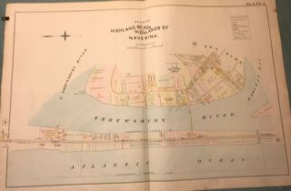 "HIGHLANDS BEACH AND HIGHLANDS OF NAVESINK NJ MAP. FROM WOLVERTON'S ""ATLAS OF MONMOUTH..."