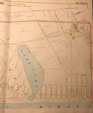 """NORTH SPRING LAKE AND COMO NJ MAP. FROM WOLVERTON'S """"ATLAS OF MONMOUTH COUNTY,"""" 1889."""