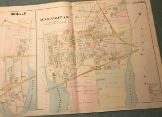 "BRIELLE/MANASQUAN NJ MAP FROM WOLVERTON'S ""ATLAS OF MONMOUTH COUNTY,"" 1889. Chester WOLVERTON"