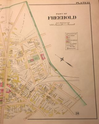 """PART OF FREEHOLD. NJ MAP. FROM WOLVERTON'S """"ATLAS OF MONMOUTH COUNTY,"""" 1889."""