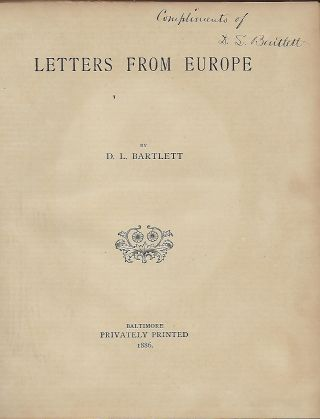 LETTERS FROM EUROPE. D. L. BARTLETT