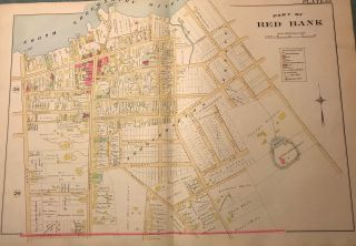 "PART OF RED BANK. NJ MAP. FROM WOLVERTON'S ""ATLAS OF MONMOUTH COUNTY,"" 1889. Chester WOLVERTON"