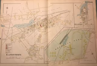 "EATONTOWN/ MONMOUTH PARK/ OCEANPORT. NJ MAP. FROM WOLVERTON'S ""ATLAS OF MONMOUTH COUNTY,""..."