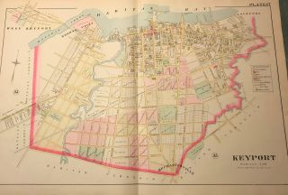 "KEYPORT [RARITAN TOWNSHIP]. NJ MAP. FROM WOLVERTON'S ""ATLAS OF MONMOUTH COUNTY,"" 1889...."