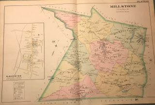 "MILLSTONE TOWNSHIP/NAVESINK (MIDDLETOWN TOWNSHIP) NJ MAP. FROM WOLVERTON'S ""ATLAS OF MONMOUTH..."
