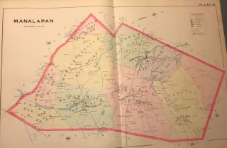 "MANALAPAN TOWNSHIP NJ MAP. FROM WOLVERTON'S ""ATLAS OF MONMOUTH COUNTY,"" 1889. Chester WOLVERTON"