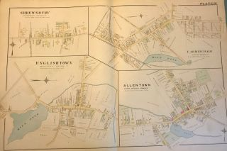 "WOLVERTON, Chester. ENGLISHTOWN/FARMINGDALE/ALLENTOWN/SHREWSBURY MAP FROM WOLVERTON'S ""ATLAS OF..."