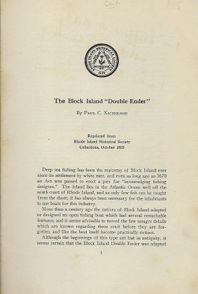 """THE BLOCK ISLAND """"DOUBLE ENDER."""""""